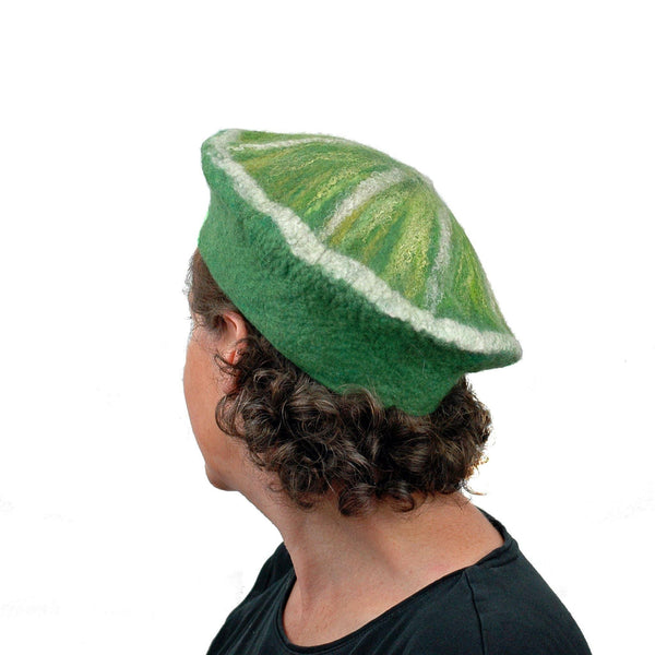 Slice of Lime Felted Beret Hat - back view