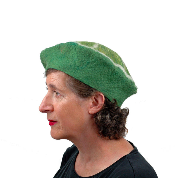 Slice of Lime Felted Beret Hat - side view