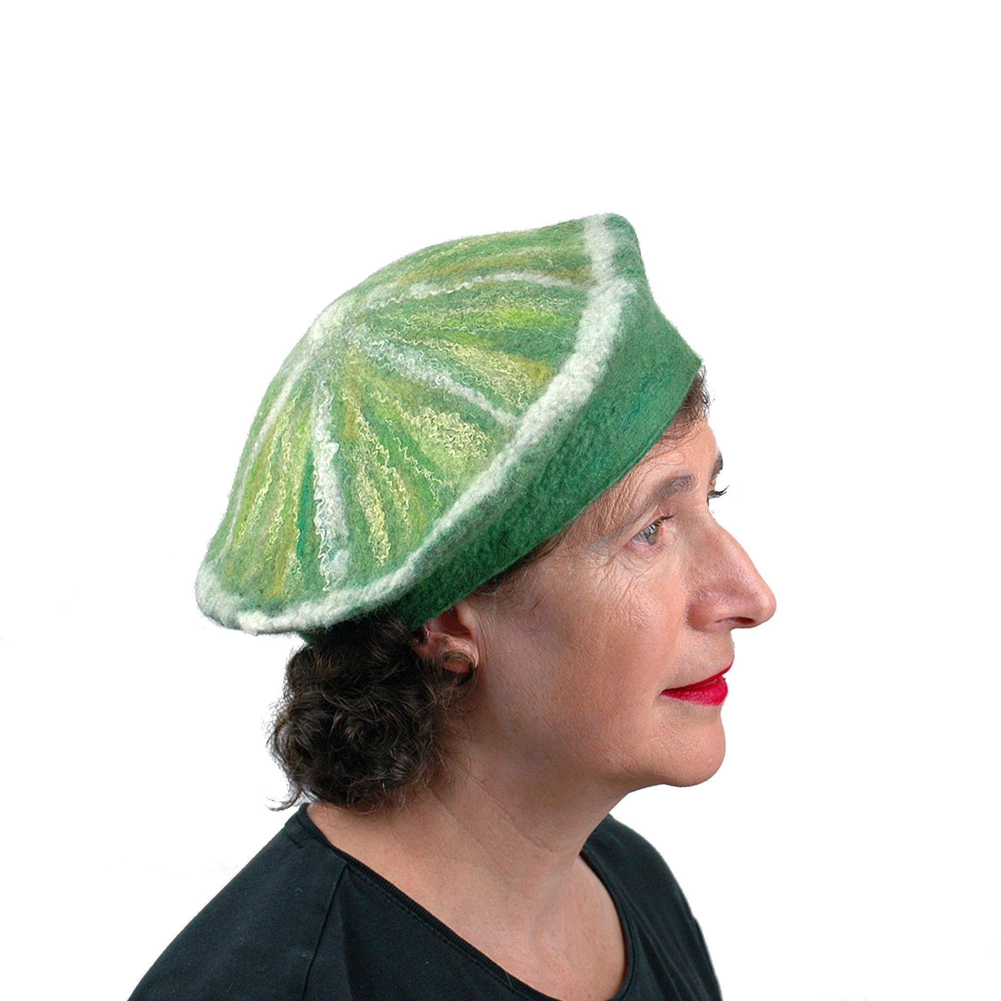 Slice of Lime Felted Beret Hat