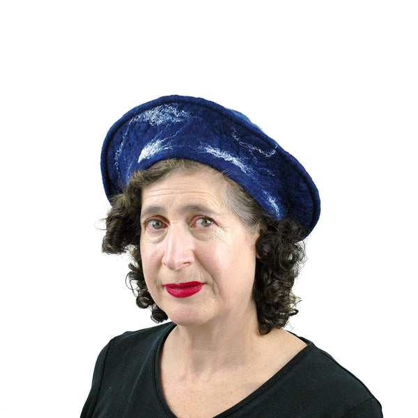 Snowflake Beret in Indigo Blue Wool - three quarters view