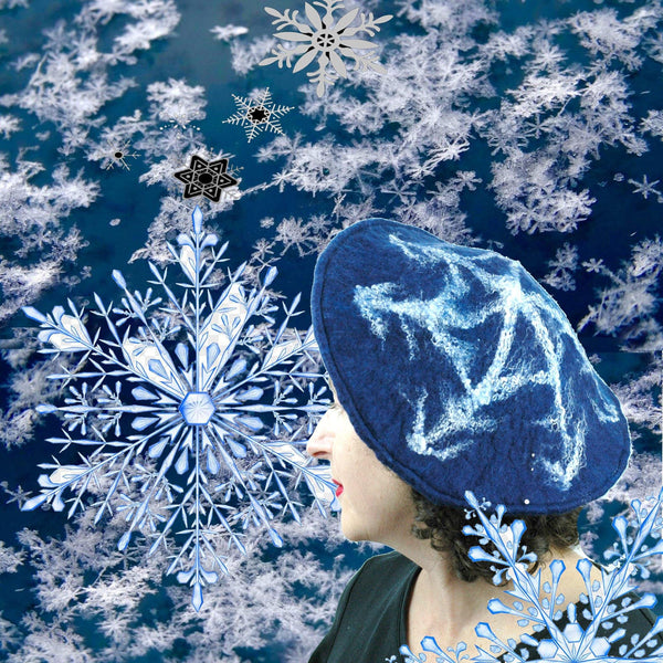 Snowflake Beret with collage of snowflakes.