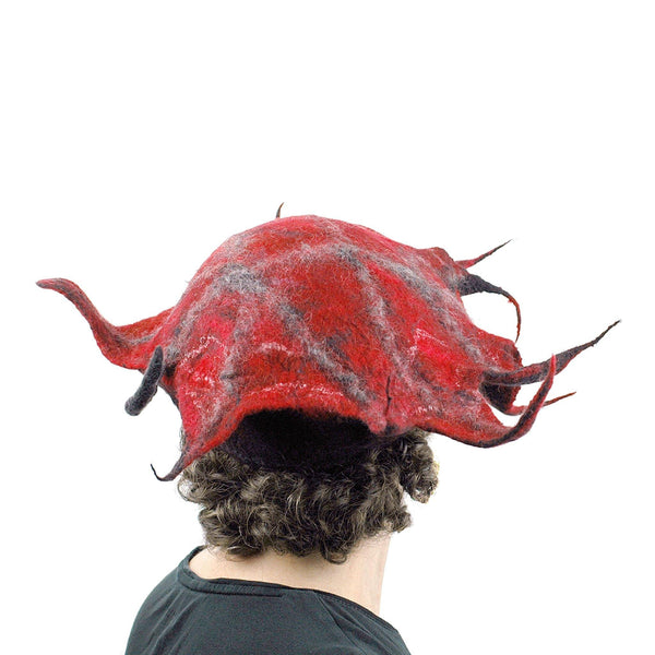 Spiky Red and Black Leaf Hat - back view