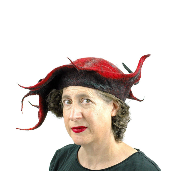 Spiky Red and Black Leaf Hat - three quarters view