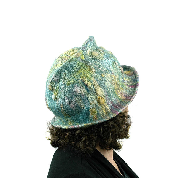 Spring Colored Impressionist Felted Cloche -back view