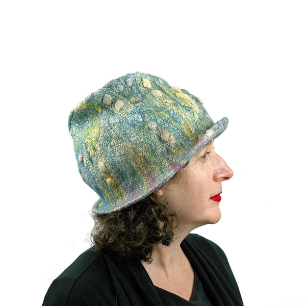 Spring Colored Impressionist Felted Cloche - side view