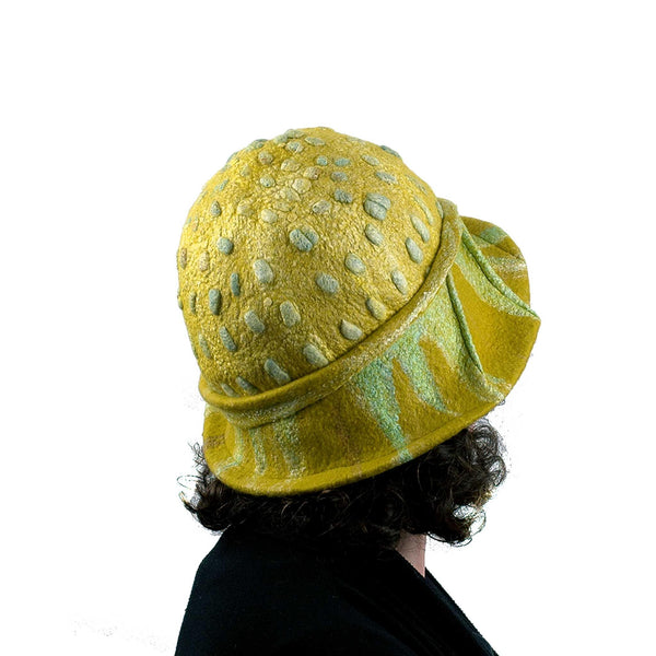 Sunflower Cloche in Mustard Yellow Felted Wool - back view