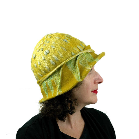 Sunflower Cloche in Mustard Yellow Felted Wool - side view
