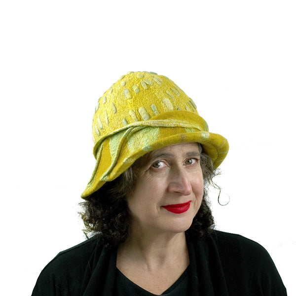 Sunflower Cloche in Mustard Yellow Felted Wool - threequarters view