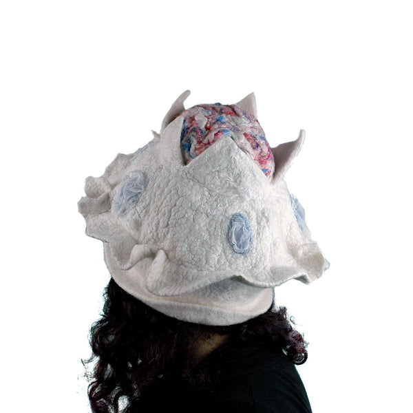 Surreal Brain Hat in White, Red and Blue - back view