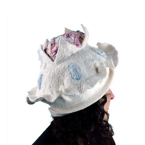 Surreal Brain Hat in White, Red and Blue - side view