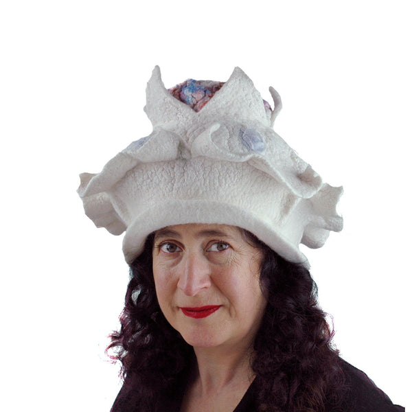Surreal Brain Hat in White, Red and Blue - front view 2