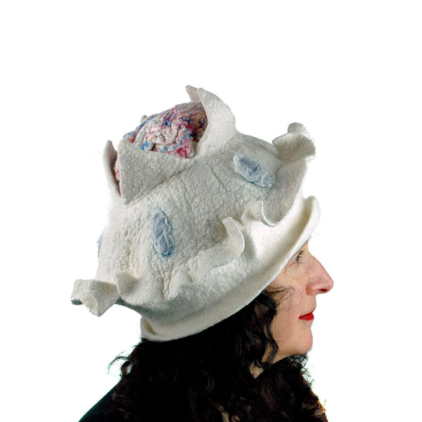 Surreal Brain Hat in White, Red and Blue - side view 2