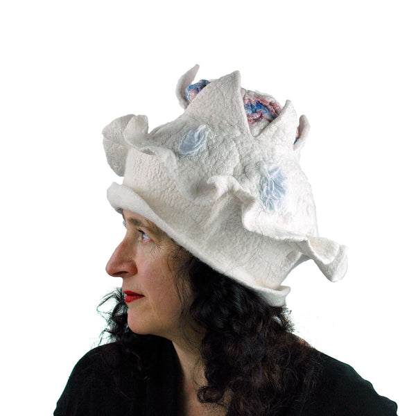 Surreal Brain Hat in White, Red and Blue - side view 3