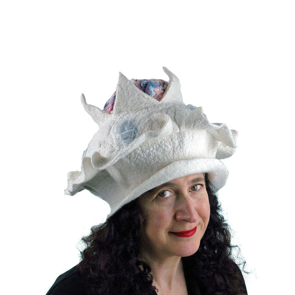 Surreal Brain Hat in White, Red and Blue - three quarters view