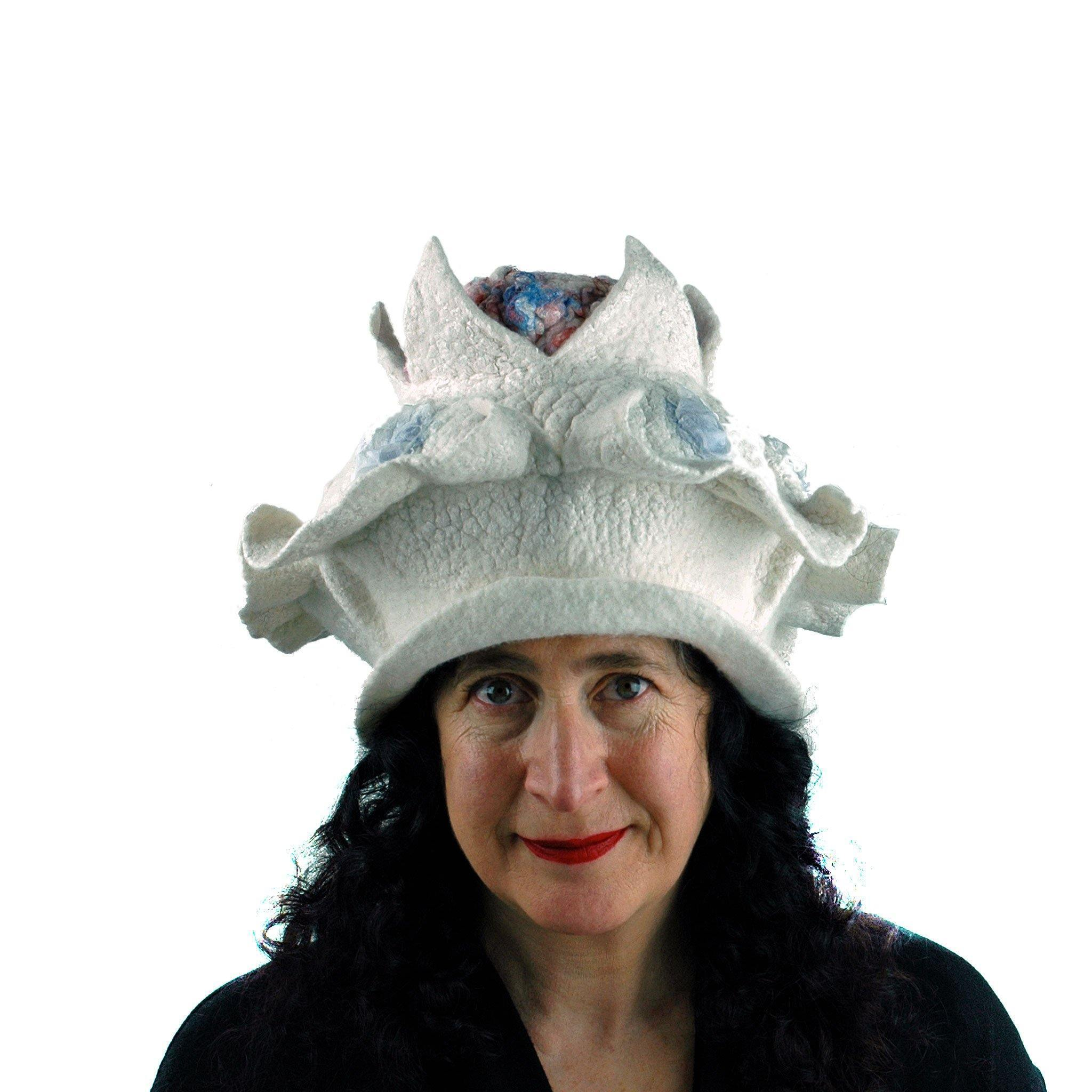 Surreal Brain Hat in White, Red and Blue - front view