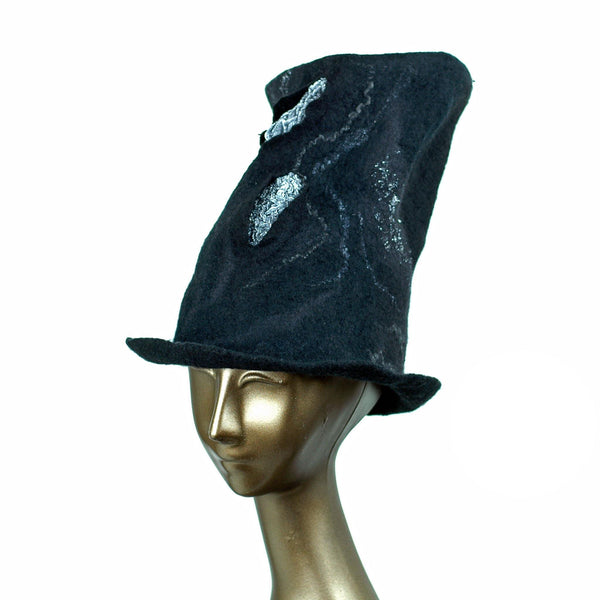 Tall Black Felted Top Hat with Velvet Decorations - three quarters view