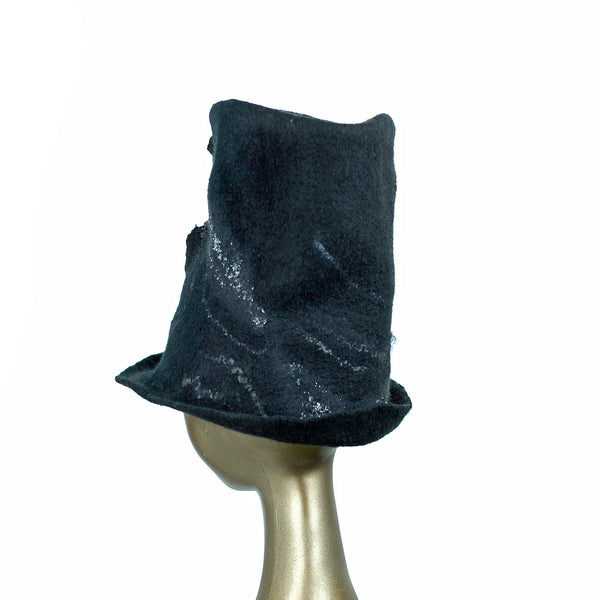 Tall Black Felted Top Hat with Velvet Decorations - back view