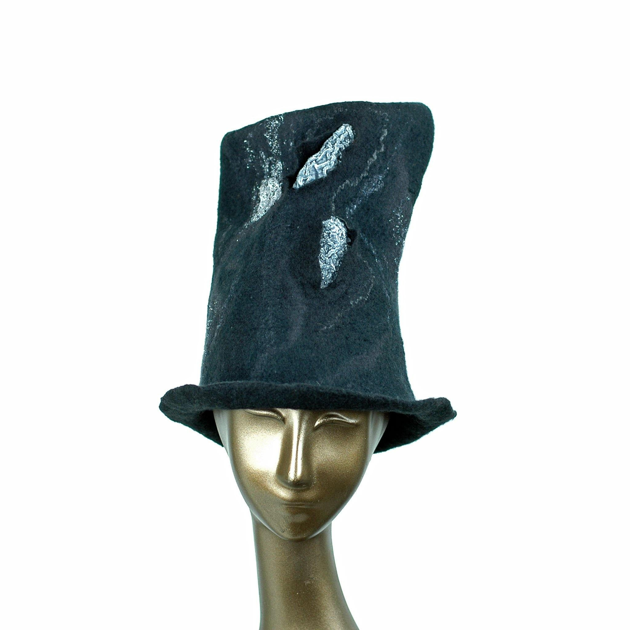 Tall Black Felted Top Hat with Velvet Decorations - front view