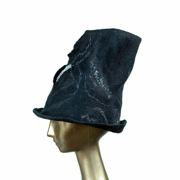 Tall Black Felted Top Hat with Velvet Decorations - side view