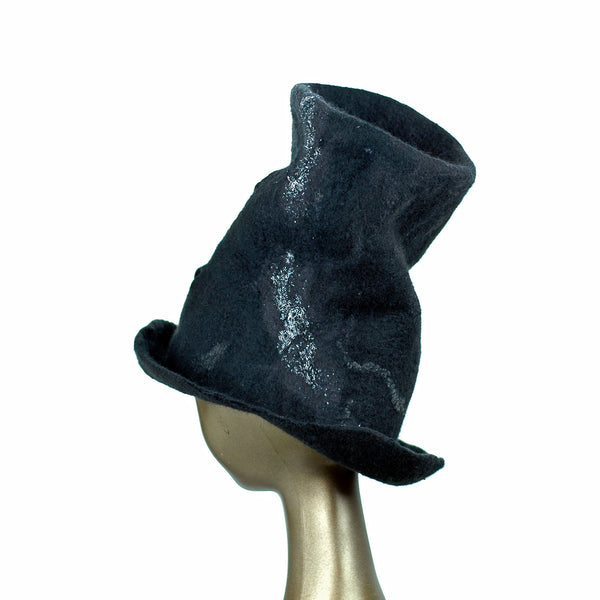 Tall Black Top Hat with Silver Nunofelted Lace - back view