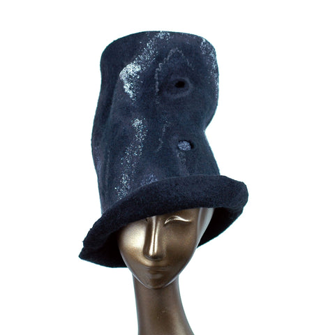 Tall Black Top Hat with Silver Nunofelted Lace - front view