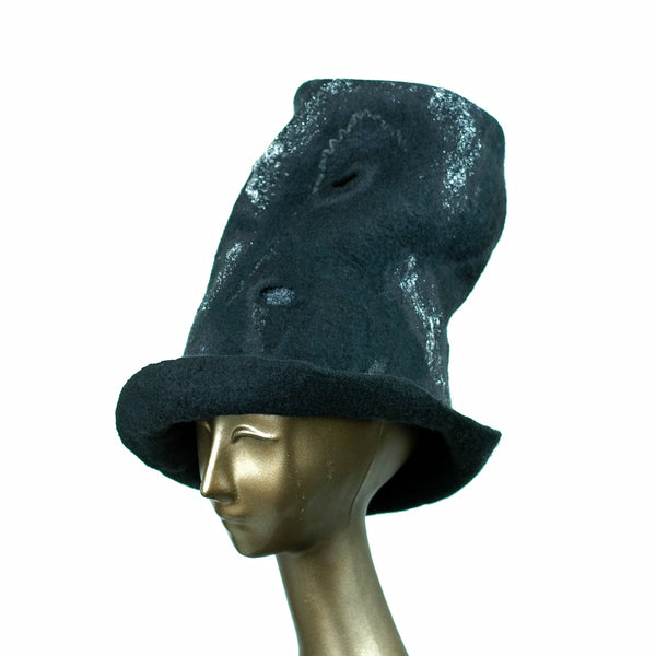Tall Black Top Hat with Silver Nunofelted Lace - side view