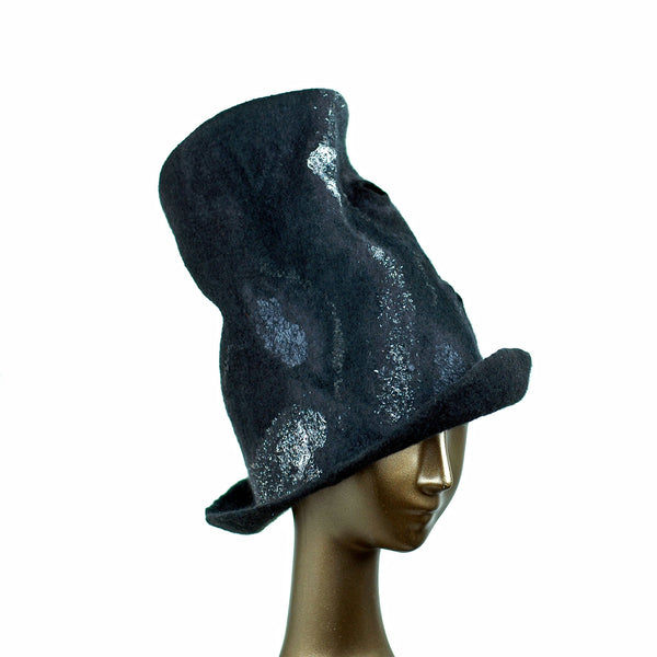 Tall Black Top Hat with Silver Nunofelted Lace - three quarters view