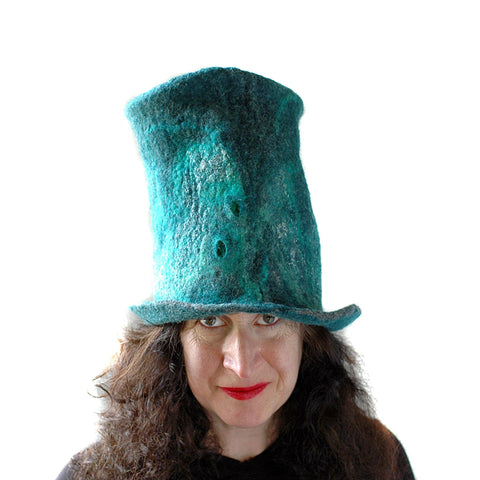 Tall Emerald Green and Silver Top Hat - front view