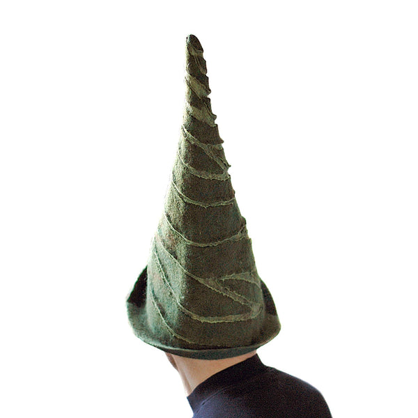 Tall Green Felted Gnome Hat - back view