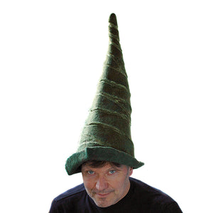 Tall Green Felted Gnome Hat - front view