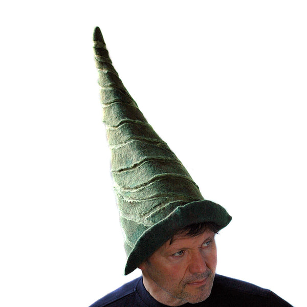 Tall Green Felted Gnome Hat - threequarters view