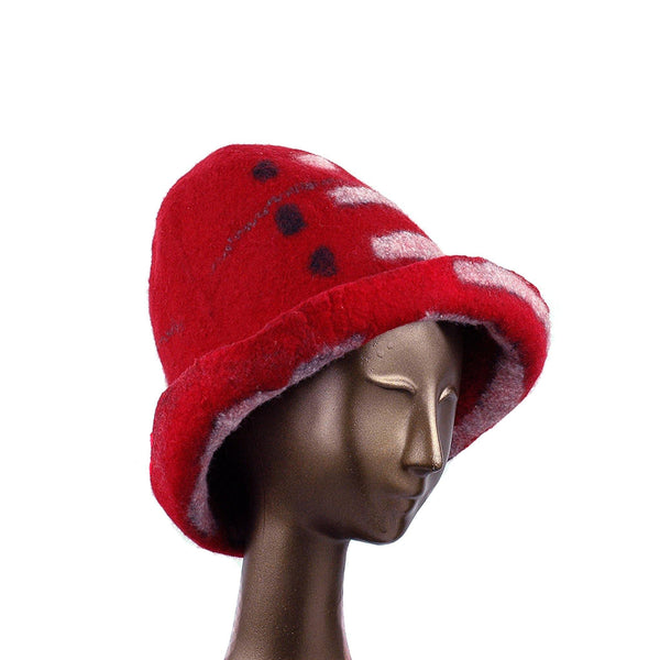 Tall Red and Black Brimmed Hat with Geometric Shapes - three quarters view