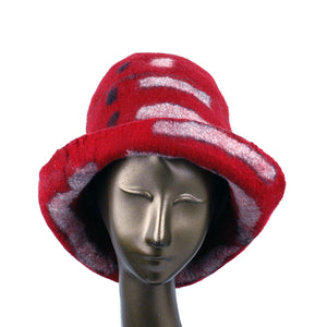 Tall Red and Black Brimmed Hat with Geometric Shapes