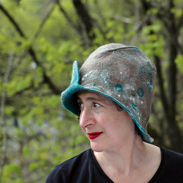 Felted Light Brown Highland Style Cloche - photographed in front of trees