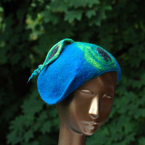 Teal Felted Cap with Stylized Peacock Feathers - front view