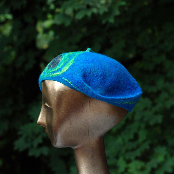 Teal Felted Cap with Stylized Peacock Feathers - side view