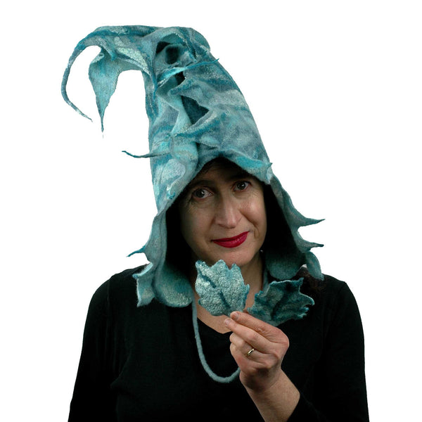 Teal Green Felted Leaf Hood with Ties - front view