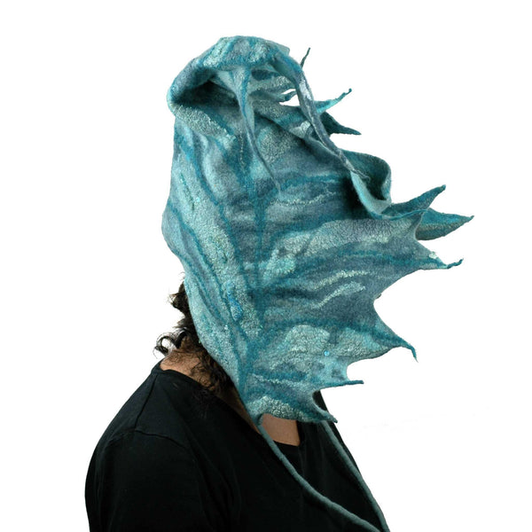 Teal Green Felted Leaf Hood with Ties - side view