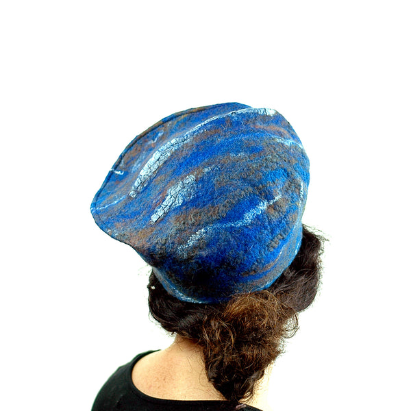 Textured Blue Earth Beret - back view 2