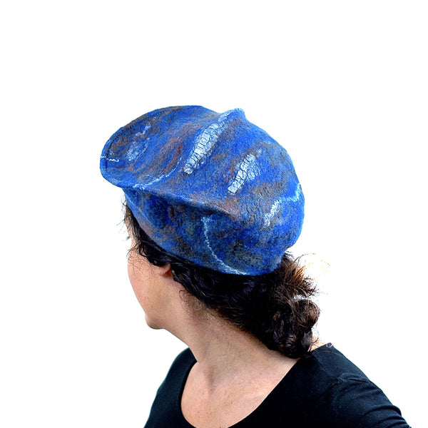 Textured Blue Earth Beret - back view