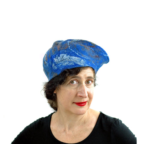Textured Blue Earth Beret - front view