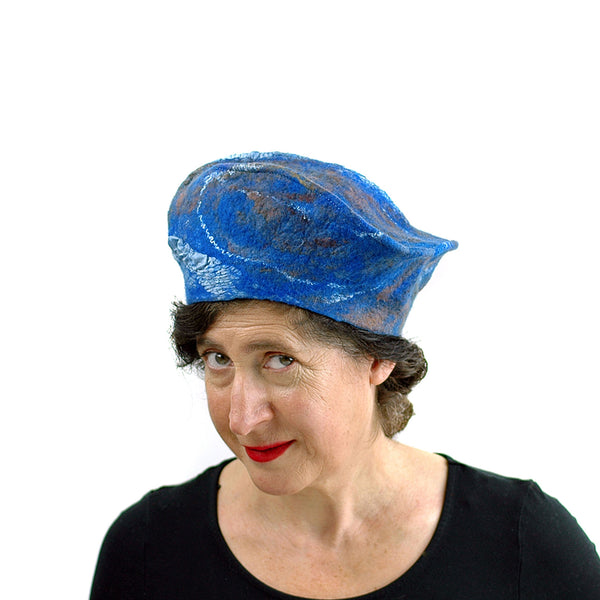 Textured Blue Earth Beret - three quarters view