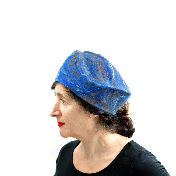 Textured Blue Earth Beret - side view