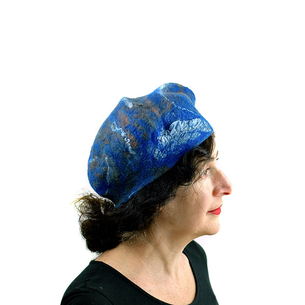 Textured Blue Earth Beret - side view 2