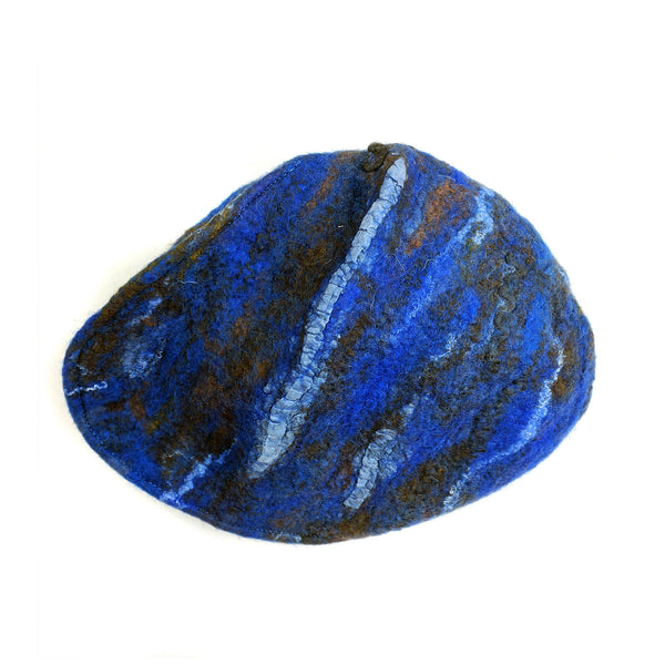 Textured Blue Earth Beret - top view