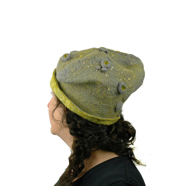 Textured Gray and Yellow Cloche Hat - back view