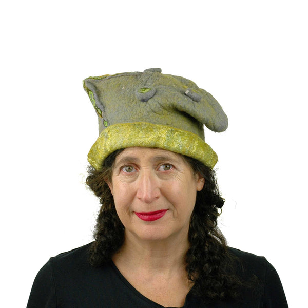 Textured Gray and Yellow Cloche Hat - front view