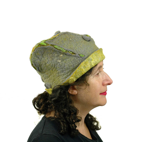 Textured Gray and Yellow Cloche Hat - side view