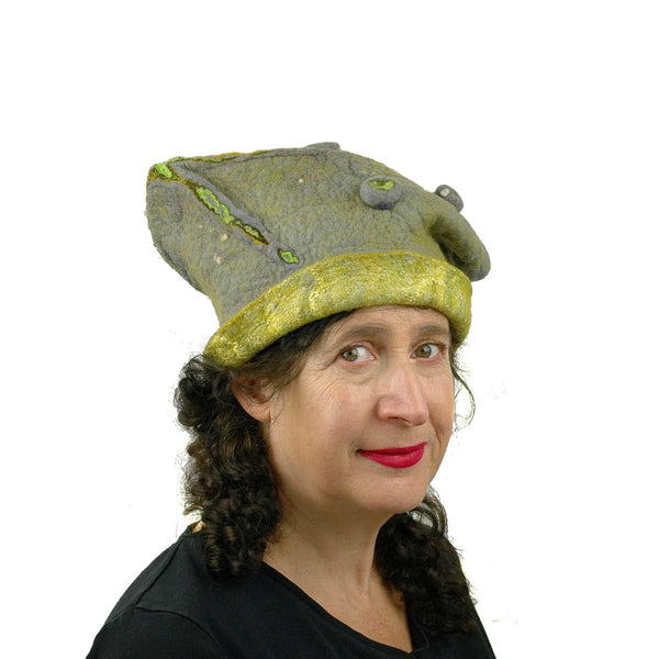 Textured Gray and Yellow Cloche Hat - threequartersview