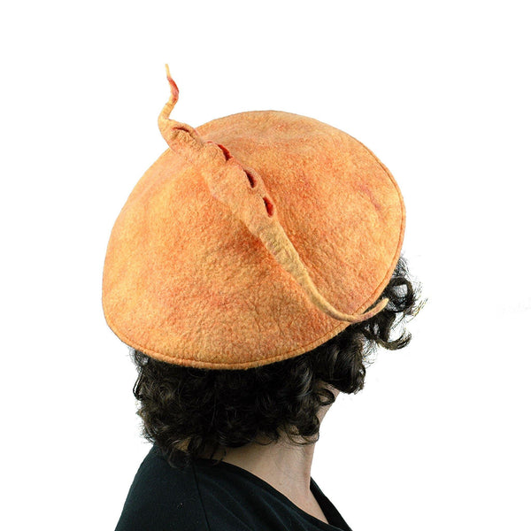 Tumeric Yellow Felted Beret with Sculptural Pod - back view